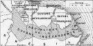 Carte de la république de la Guyane indépendante. Il fallait à l'époque 5 à 6 jours de traversée à voile (en tapouille) pour relier Cayenne à Counani.